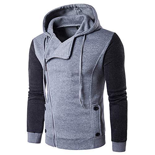 QBQCBB Mens Long Sleeves Hooded Autumn Winter Patchwork Zipper Sweatshirt Top (Gray,XL) ()