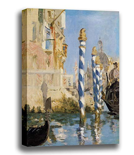Canvas Print Wall Art - The Grand Canal, Venice - by Edouard Manet - Giclee Printed on Stretched Gallery Wrap - 10x12 inch ()