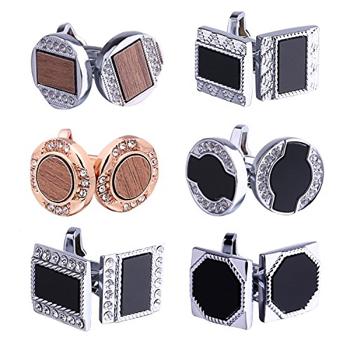 Plated Polished Rectangle Cufflinks (BodyJ4You Cufflink 6 Pairs Crystals Modern Deco Men's Cuff Links Elegant Gift Box)