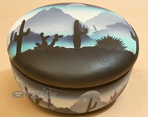 Mission Del Rey Native American Pottery -Authentic Navajo Indian Jewelry Box -Hand Painted Southwestern Art, for Rustic Southwest Decor. (Sonora Blue, 5