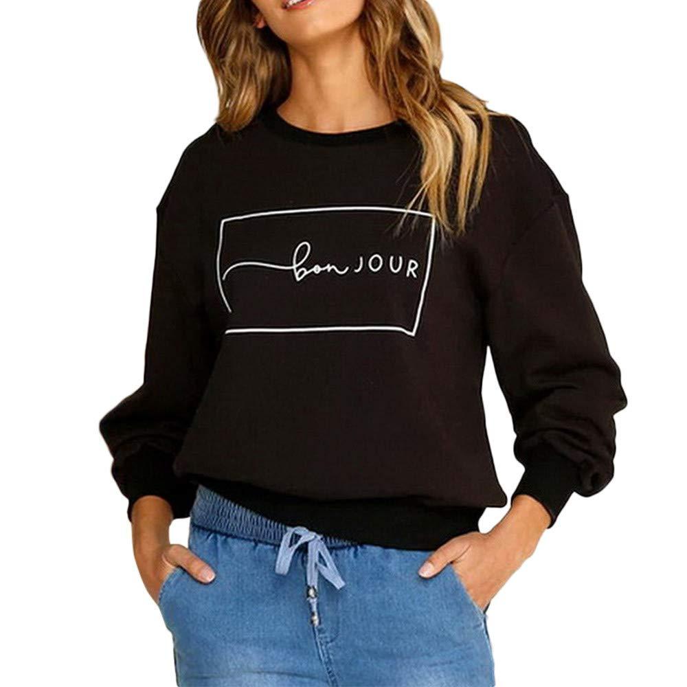Amazon.com: ZJSWCP Sweatshirt Women Long Sleeve Casual Letter Print Sweater Top Blouse Sudaderas para Mujer Bluzas Damska Felpa Donna Felpe 5: Sports & ...