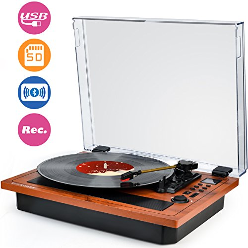 WOCKODER Record Player with Built-in Speakers RCA line Out - Wood