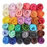 OPount Set of 36 Colors Wool Roving Wool Fibre Yarn Roving DIY Craft Materials