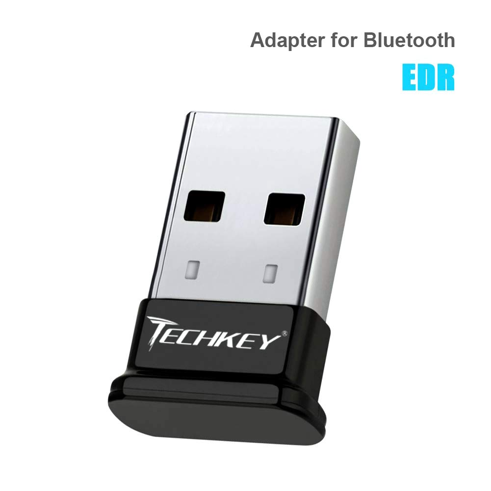 TECHKEY Adapter Compatible with Bluetooth for PC USB Dongle for Bluetooth EDR Receiver Wireless Transfer for Stereo Headphones Laptop Windows 10, 8.1, 8, 7, Raspberry Pi by Techkey