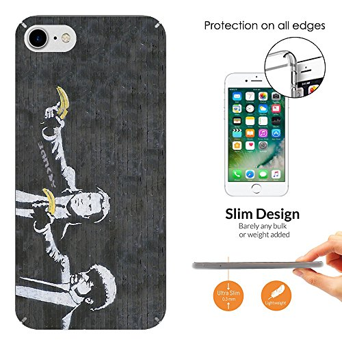 "000547 - Banksy Graffiti Art Pulp Fiction Design iphone 7 Plus 5.5"" Fashion Trend Leichtgewicht Hülle Ultra Slim 0.3MM Kunststoff Kanten und Rückseite Protection Hülle - Clear"