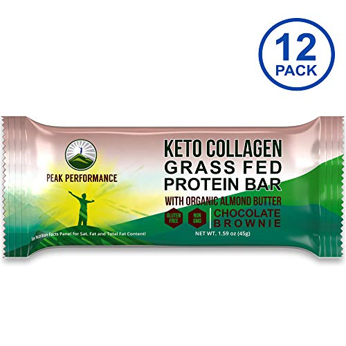 Keto Bars – Grass Fed Collagen Keto Protein Bars with Organic Almond Butter by Peak Performance (12 Pack). Delicious, Gluten Free, No Added Sugar, Perfect Snack for Paleo + Keto Chocolate Brownie Bar