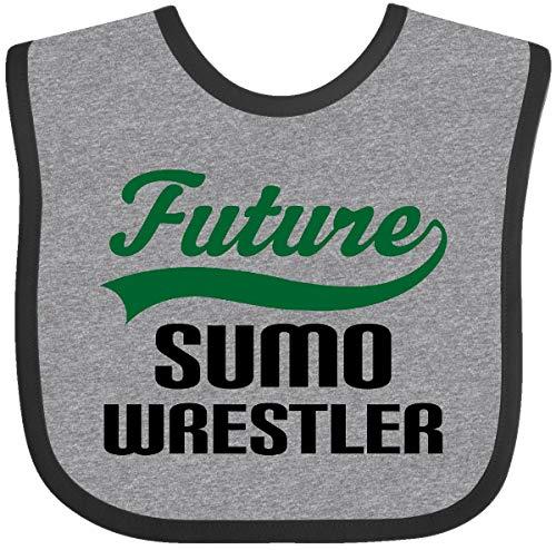 (Inktastic - Future Sumo Wrestler Baby Bib Heather and Black)