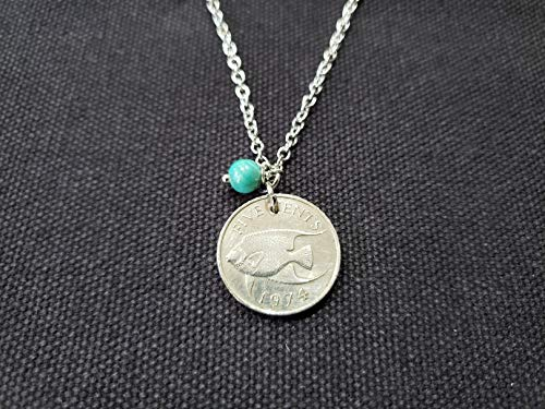 CoinageArt Bermuda Coin Jewelry -Ocean Fish Coin Necklace 5 cents from Bermuda dated 1974 with Green Turquoise Gemstone on Brilliant Stainless Steel Chain 941