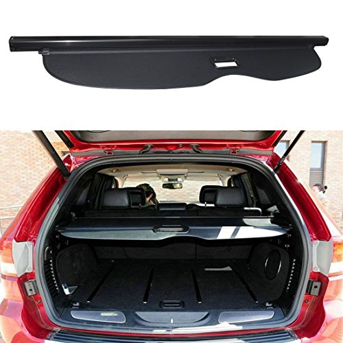 E-cowlboy Retractable Rear Trunk Organizer Cargo Luggage Security Shade Cover Shield for Jeep Grand Cherokee 2011 2012 2013 2014 2015 2016 2017 2018 (not fit Jeep cherokee)