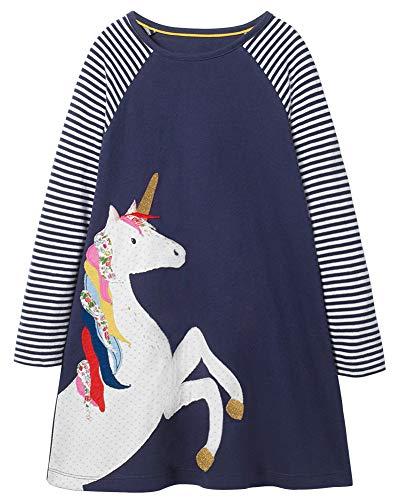Fiream Girls Cotton Casual Longsleeve Stripe Applique Dresses(Navy,3T/3-4YRS) (Kid Collection Girls Dress)