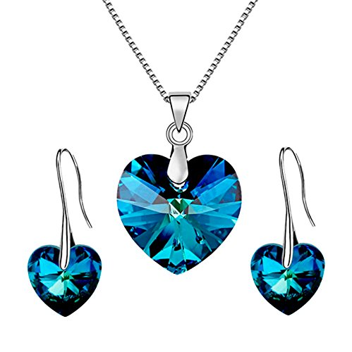 Les Bohémiens Iridescent Blue or Purple Angel Heart Pendant Necklace Earring Set for Women Made with Swarovski Crystals - Box, Card, Envelope Included for Easy Gifting (Bermuda Blue)