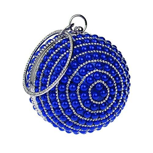 Mariage Blue à Sac Bal Main FêTe Clutches Sac Perle Mesdames BandoulièRe De Sac SoiréE à Pochette SphéRique AqWawHWz