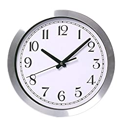 Maywhen Indoor Decorative Silent Non Ticking Modern Round Quartz Wall Clock Metal 12 Inches