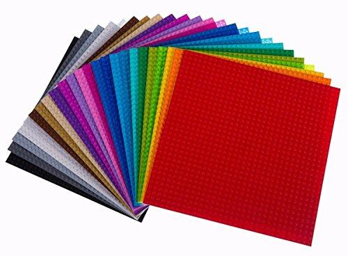 Strictly Briks - Lot de 24 plaques de base classiques - pour jeux de construction - compatible avec toutes les grandes marques - 24 couleurs - 25,4 x 25,4 cm