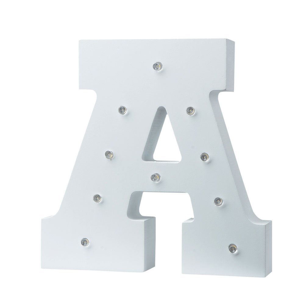 LED Light Up Wooden Alphabet Marquee Wall Letter Night Decorative DIY White Letters Lights Sign With Battery Operated for Festival Party Wedding Holiday Birthday Christmas Valentine Rom (A) by Zebery