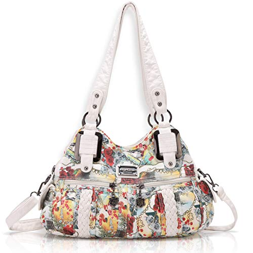 Angel Barcelo Womens Fashion Handbags Purse Shoulder Bags Tote Bags Ladies Girls Designer Satchel Bags White
