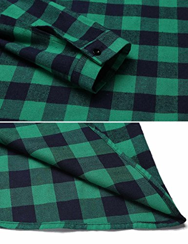 Belted 3 Sleeve Line Shirt Plaid 4 Women's Dress A Casual Sea Green Burlady Pleated YZgUW