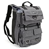 Evecase DSLR Camera Canvas Backpack with Tablet/Laptop Compartment & Rain Cover for Panasonic DMC-G6, G6KK, G5KK, G3, G2, GH4k, GH4, GH3, GH2, GH1 - Gray