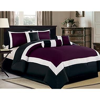 7 Piece Oversize Purple / Black / White Color Block  Milan  Comforter set 94  X 90  Queen Size Bedding