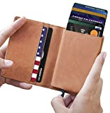 Mens Minimalist Leather Wallet RFID Blocking| + Aluminum Card Holder-Lefada Us