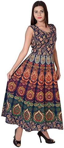 Monique Women's Rajasthani Traditional Cotton Jaipuri Printed Long Maxi Dress (Free Size Upto 44XL; Navy blue)