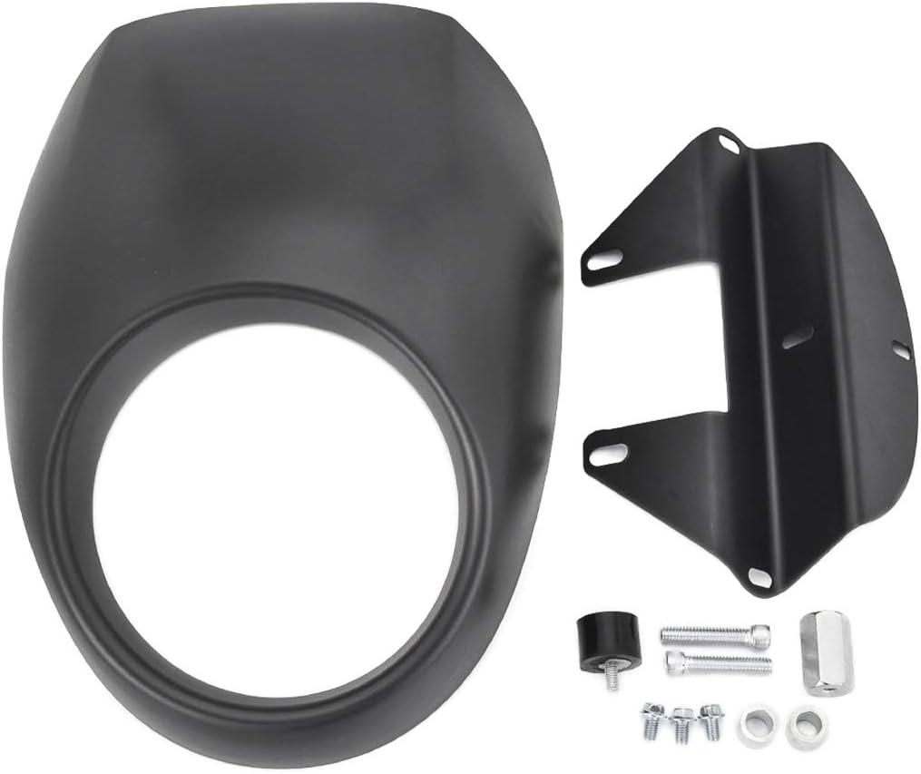 Benlari Motorcycle Black Headlight Fairing Mask Fork Cowl Visor with Bracket Compatible for Harley Davidson Sportster XL Dyna FX XL883 XL1200 1982-2020