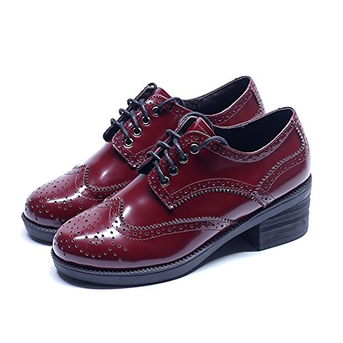 MINIVOG Womens Round Toe Lace-up Thick Heel Bullock Carved Leather Oxfords Shoes Red qT4mN