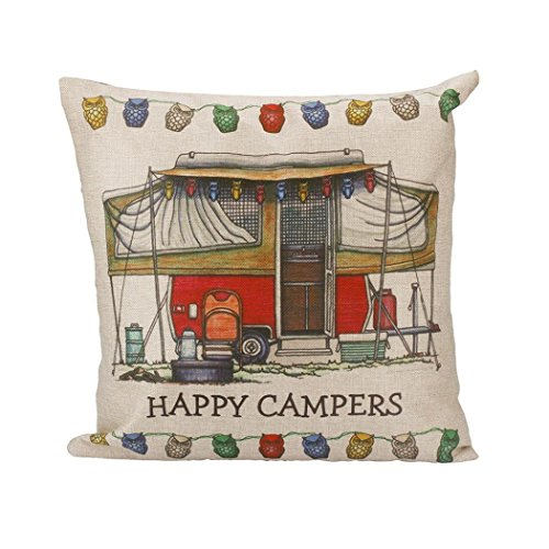 Bokeley Pillow Case, Cotton Linen Square Happy Campers Print Decorative Throw Pillow Case Bed Home Decor Car Sofa Waist Cushion Cover (G)