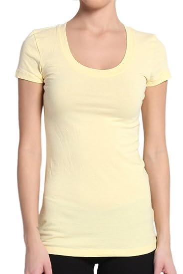 f188e256cb11 TheLovely Junior's Basic Plain Short Sleeve Tee Shirt Top (Banana, Small)