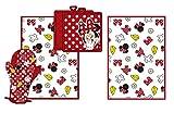 Disney Minnie Bow Shoe Glove Flower Parts Kitchen Towel Set [4-Piece Set]