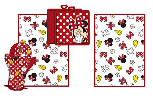 Disney Minnie Bow Shoe Glove Flower Parts Kitchen Towel Set [4-Piece Set] by Disney