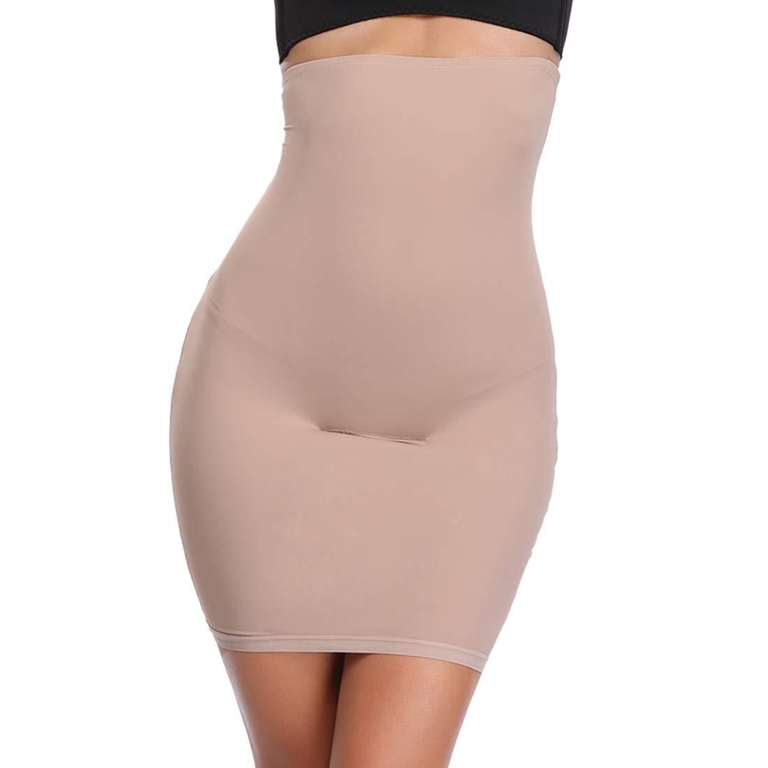 Half Slips for Women Under Dress Butt Lift Shapewear Tummy Control Waist Trainer Body Shaper(Beige,S)