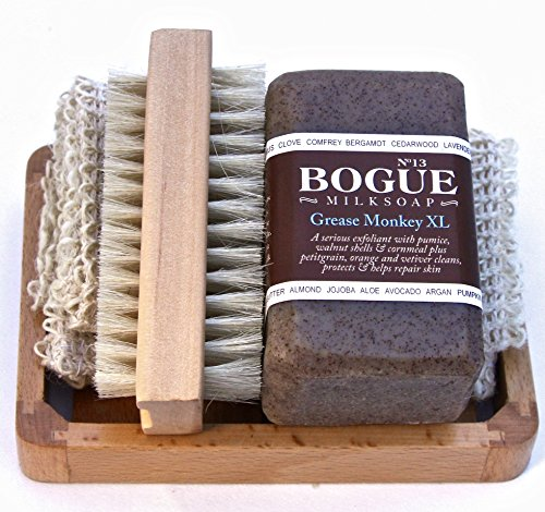 BOGUE Milk Soap-Grease MonkeyXL Gift Set- 3 Aggregates Exfoliate, Remove Grease & Smells, Oils of Orange, Petigrain & Vetiver Heal Cuts & Abrasions. Sisal Cloth, Nail Scrubber & Tray