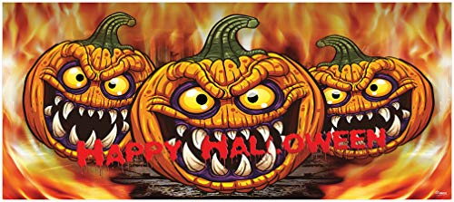 Victory Corps Outdoor Christmas Holiday Garage Door Banner Cover Mural Décoration 7'x16' - Three Scary Pumpkins Outdoor Halloween Garage Door Banner Décor Sign 7'x16']()