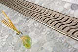Royal Linear Shower Drain Stainless Steel Ocean Wave By Serene Steam 23 1/2 by Royal Drains By Serene Steam