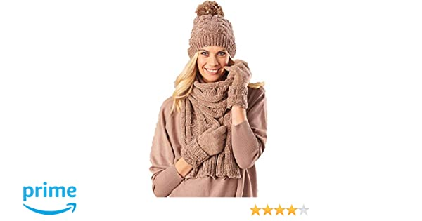 3b95f9e3f6745 Amazon.com  Chenille Taupe Scarf Gloves Hat Set  Clothing