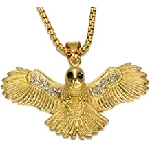 Stainless Steel Gold Plated Hip Hop Hawk Pendant Chain Necklace for Men by Lovelychica