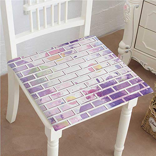 Mikihome Chair Pads Squared Seat Vector of Brick Wall Ative Design Violet and Lavander Outdoor Dining Garden Patio Home Kitchen Office (Brick Vinyl Ottoman)