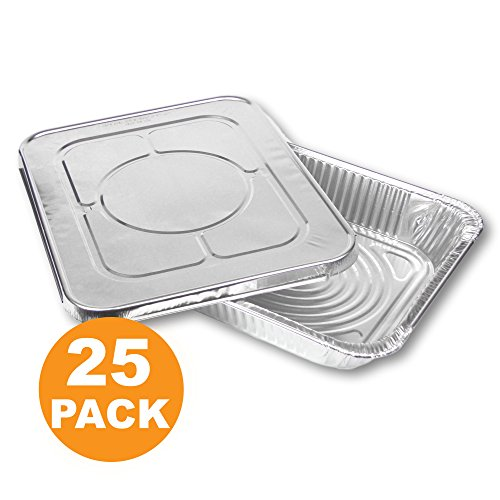 Large Rectangular Disposable Aluminum Foil Steam Table Baking Roast Pans with Flat Lids, Half Size 13 x 10 [25 Pack]