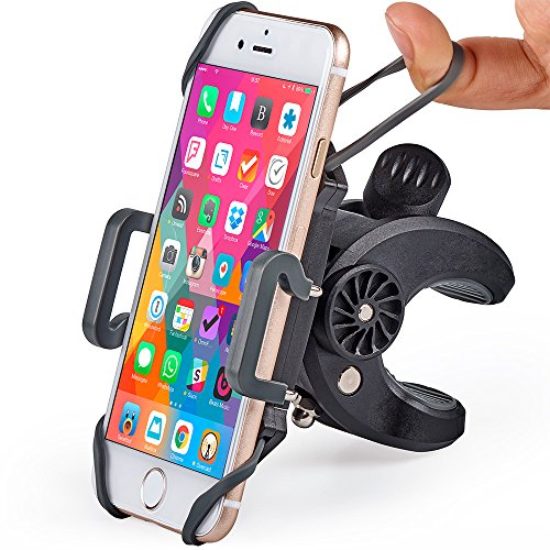 Bike & Motorcycle Phone Mount - For iPhone 8 (X, 7, 5, 6 Plus), Samsung Galaxy or any Cell Phone - Universal Handlebar Holder for ATV, Bicycle and Motorbike. +100 to Safeness & Comfort (Motorcycle Ipod Mount)