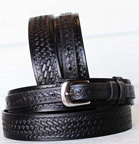 PRORIDER 31-32 Men's Western Ranger Belt Tooled Leather Basket Weave Black 26Ranger04