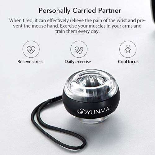 YUNMAI Kemite Anti-stress Wrist Trainer LED Gyroball Essential Spinner Gyroscopic Forearm Exerciser Gyro Ball Mi Home Kit
