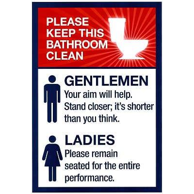 11x17 Clean Bathrooms Ladies Gentlemen Sign Art Print Poster