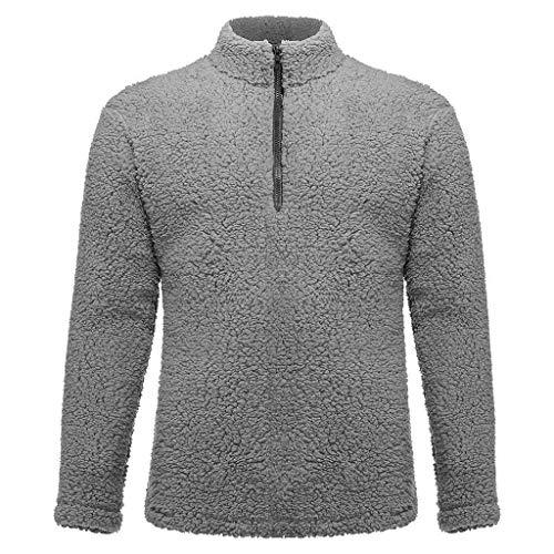Sunhusing Men's Popular Solid Color Fleece Pullover Tops Autumn New Comfortable Long-Sleeve Sweatshirt Gray