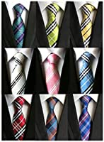 Welen Lot 9 PCS Classic Men's 100% Silk Tie Necktie Woven JACQUARD Neck Ties