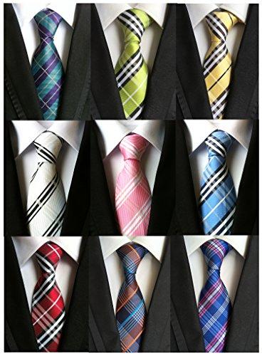 YanLen Lot 9 PCS Classic Men's Tie Necktie Woven JACQUARD Neck Ties (Style 01)