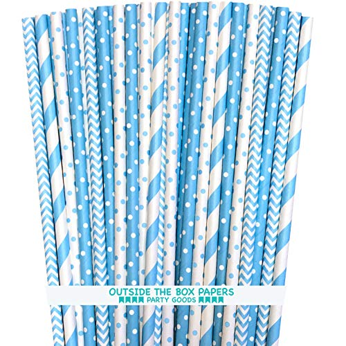 - Outside the Box Papers Light Blue Stripe, Polka Dot Chevron Paper Straws 7.75 Inches 100 Pack Light Blue, White