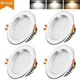 Betorcy 3 Inch LED Downlight, 3 Colors Changing Ceiling Light, White / Neutral / Warm, CRI80+, 4W (30W  Equivalent), Retrofit Recessed Panel Trim Fixture, Pack of 4