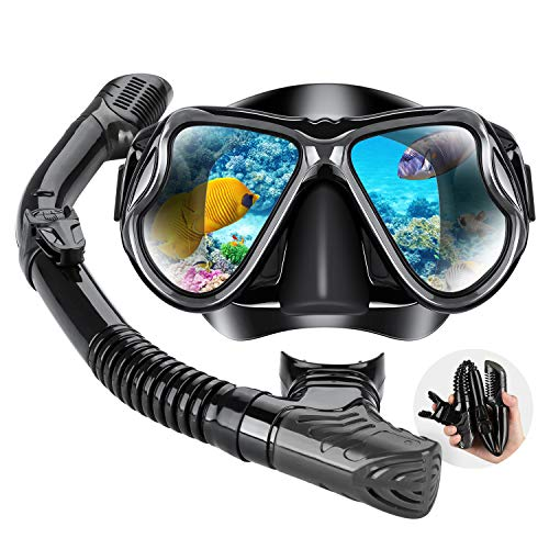 Dry Snorkel Mask Set Snorkeling Gear - Foldable Dry Snorkel Set with Dry-wet Switchable Float Valve, Purge Valve Tube, Anti Fog 180 Panoramic Silicone No Leak Seal Mask for Adults and Youth