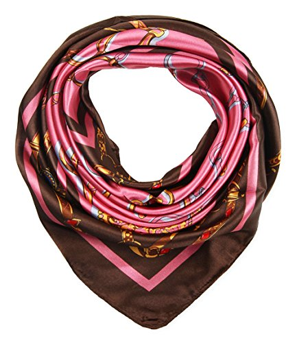 (Women's Large Satin Square Silk Feeling Hair Scarf 35 x 35 inches Chains Coffee Pink by corciova)